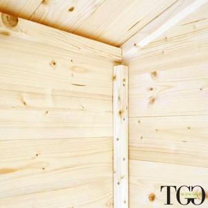 Casette in legno. Box Capanno In Legno Addossato Jack Per Attrezzi con porta doppia finestrata 198 x 98 cm dettaglio 1223