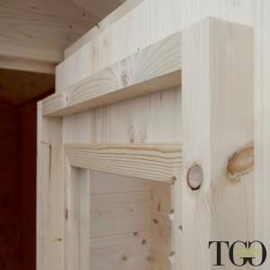 Casette in legno. Box Capanno In Legno Addossato Jack Per Attrezzi con porta singola finestrata Jack naturale 146 x 98 cm dettag