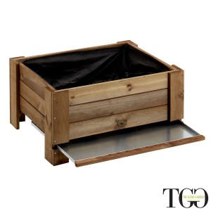 Fioriere in legno. Fioriera in legno da esterno GardenBox a terra large color castagno 81 x 64 x 40 cm dettaglio 1560