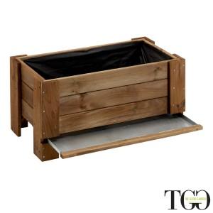 Fioriere in legno. Fioriera in legno da esterno GardenBox a terra small color castagno 81 x 44 x 40 cm dettaglio 1561
