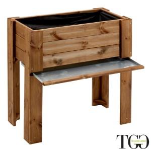 Fioriere in legno. Fioriera in legno da esterno GardenBox rialzata color castagno 81 x 44 x 80 cm dettaglio 1563