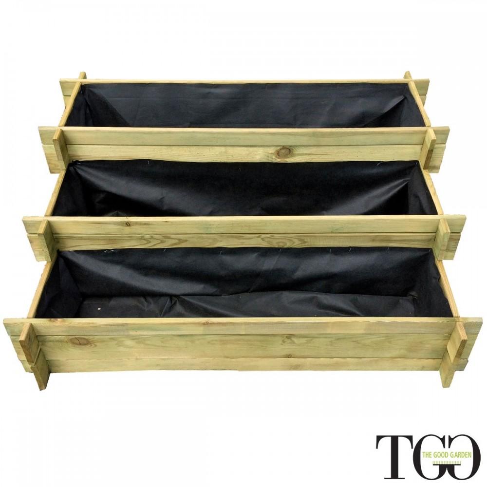 Fioriere in legno. Vasca in legno Veggy Multipiano per l'orto e il giardino 100 x 60 x 45 cm dettaglio 1580
