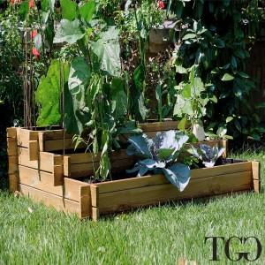 Fioriere in legno. Vasca in legno Veggy Multipiano per l'orto e il giardino 100 x 60 x 45 cm dettaglio 1581