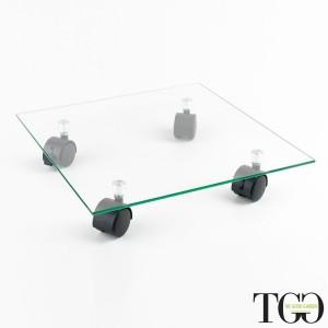 Accessori. Carrello portavaso in vetro con ruote ALICE-V 35 cm dettaglio 1619