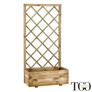 Fioriere in legno - Fioriera con griglia Susy 70X35X H140 Cm