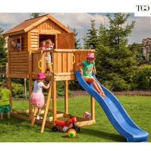Casetta in legno con scivolo Bambi 1 gioco in legno per giardino