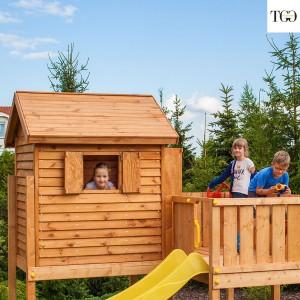 Casetta in legno con scivolo Fungoo MySide gioco in legno per giardino