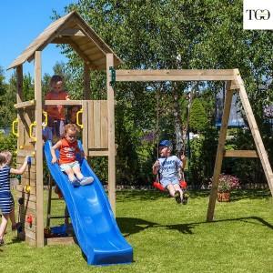 Scivolo e Altalena in legno Fungoo Carol 2 gioco in legno per giardino