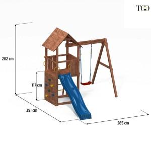 Scivolo e Altalena in legno Dumbo 2 gioco in legno per giardino