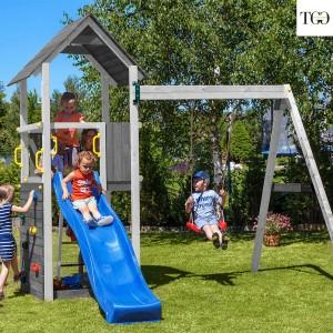 Scivolo e Altalena in legno Fungoo Carol 2 Bianco gioco in legno per giardino
