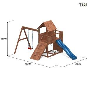 Scivolo Altalena e Arrampicata in legno Fungoo Carol 3 gioco in legno per giardino