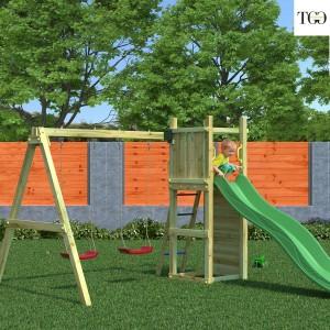 Scivolo e Altalena in legno Fungoo Funny 3 gioco in legno per giardino