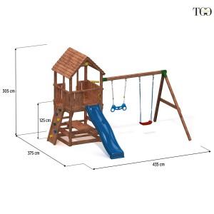 Scivolo Altalene e Arrampicata in legno Joy Move gioco in legno per giardino