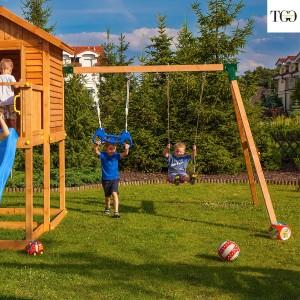 Casetta in legno con scivolo Fungoo MyHOUSE MOVE gioco in legno per giardino