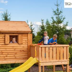 Casetta in legno con scivolo Fungoo STEP ON MySIDE gioco in legno per giardino